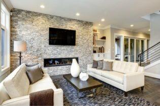 Moderná obývačka v bledých odtieňoch