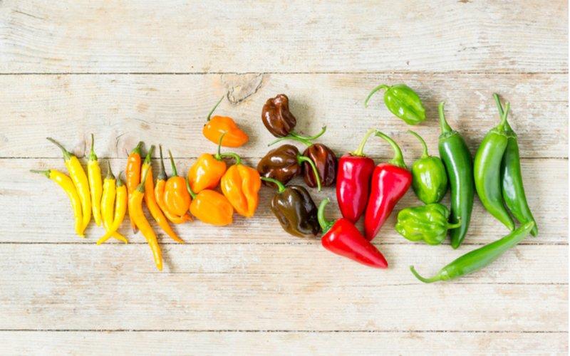 rôzne druhy plodov čili papričiek na svetlom drevenom podklade