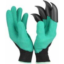 Rukavice záhradné latex. s plast. pazúrmi zelené