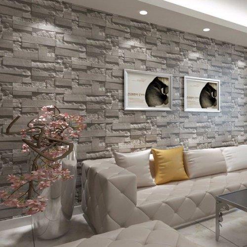 Klasický sivý kamenný obklad v obývačke