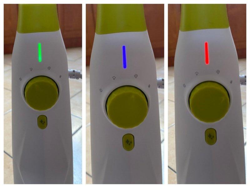 Zelená, modrá a červená kontrolka na parnom čističi