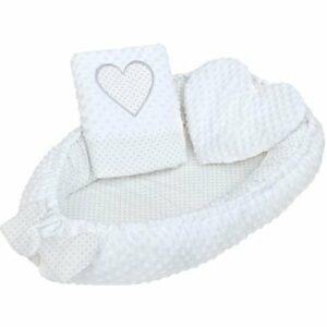 New Baby Luxusné hniezdočko s vankúšikom a perinkou Srdiečko biele