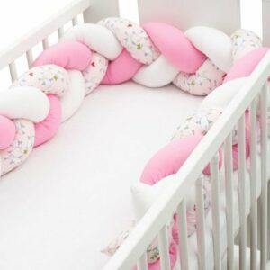 New Baby Ochranný mantinel do postieľky vrkoč Vtáčiky ružovo-biely