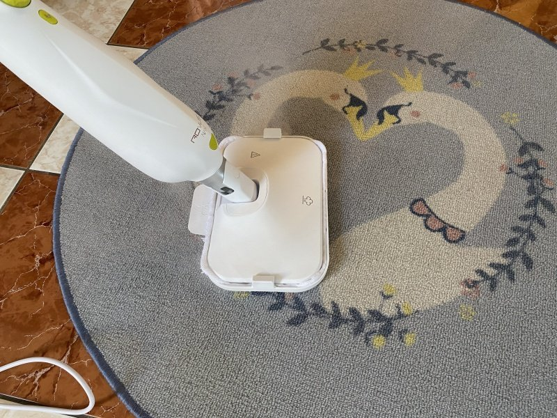 Parný čistič čistí koberec