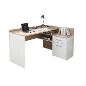 Písací stôl CHILLE, dub artisan/matná biela