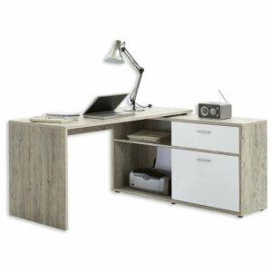 Písací stôl DIEGO 1, dub pieskový/biela vysoký lesk