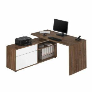 Rohový písací stôl ARLO, dub tmavý/biela