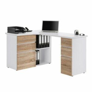 Rohový písací stôl BAKER, biela/dub sonoma