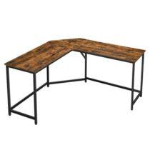 Rohový písací stôl LWD73X, čierna/hnedá