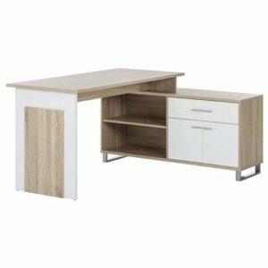 Rohový písací stôl MANAGER, dub sonoma/biela