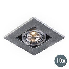 Sada 10 moderných zapustených bodových svetiel z hliníka s hrúbkou 3 mm – Qure