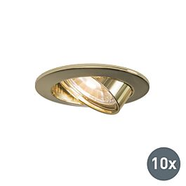Sada 10 zapustených bodových svetiel sklopných zlatých – Edu