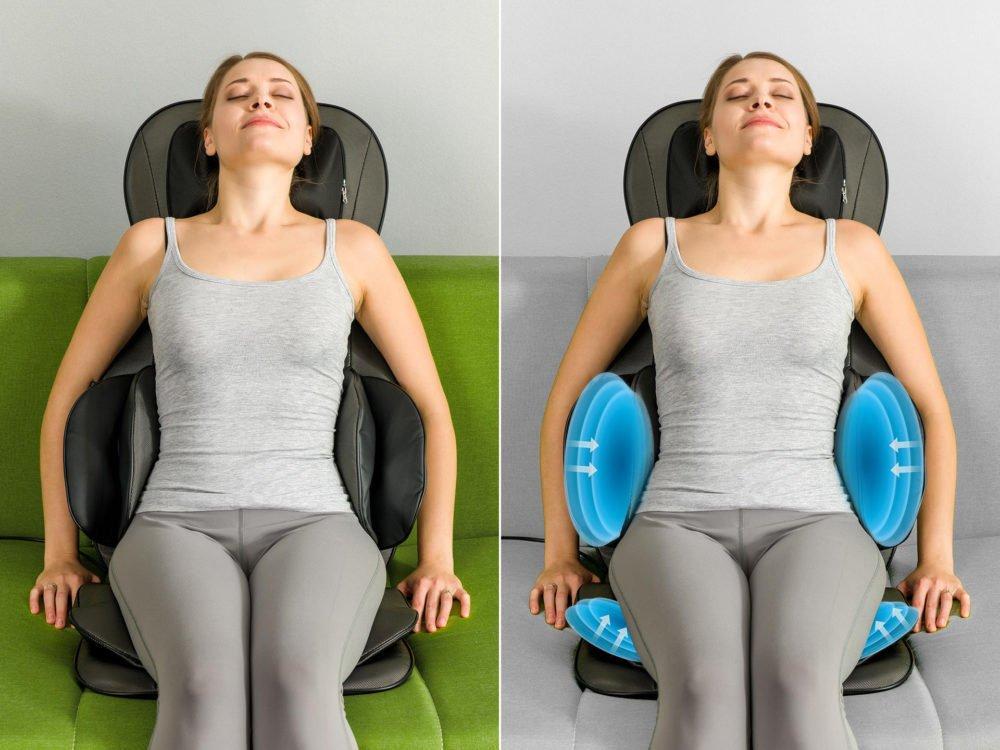 Žena na masážnej podložke Welleo Shiatsu 5v1