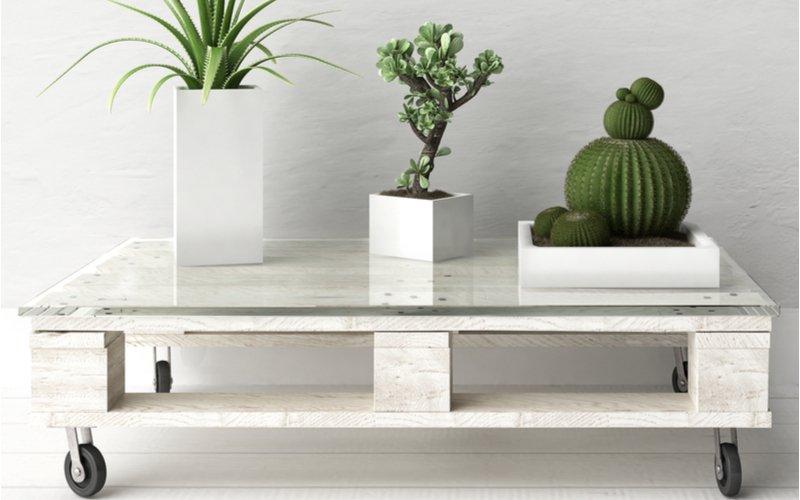Paletový stolík s kolieskami a so sklom