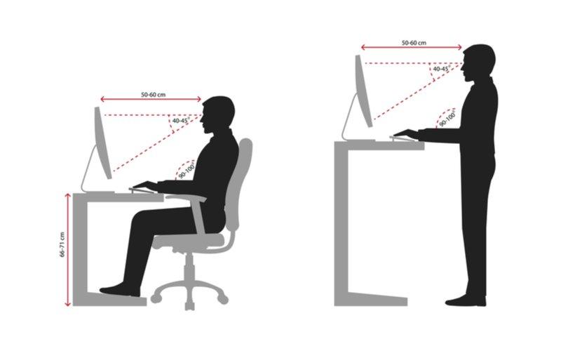 Grafické znázornenie osoby pracujúcej v sede a v stoji