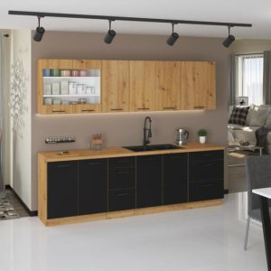 Kuchyňa Modena 260cm čierny/dub artisan