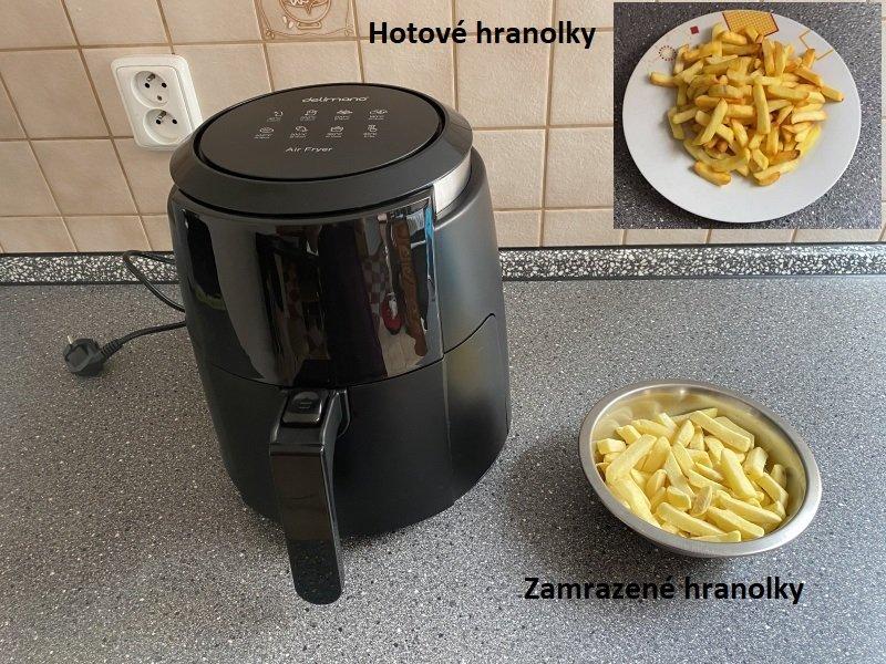 Zmrazené a hotové hranolky s fritézou