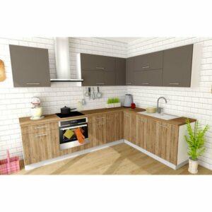 Rohová kuchynská zostava FACHMAN B4, 277×217 cm, antracitová vysoký lesk/dub alicante