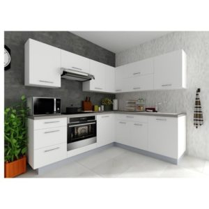 Rohová kuchynská zostava FACHMAN B5, 217×217 cm, biela vysoký lesk