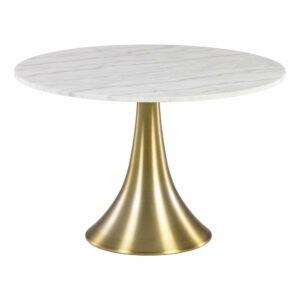 Biely okrúhly jedálenský stôl v mramorovom dekore La Forma, ø 120 cm
