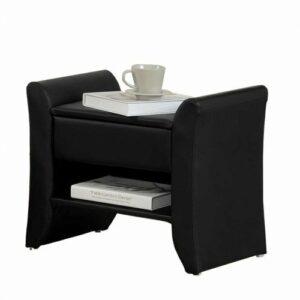 Čalúnený nočný stolík Bolton – čierna