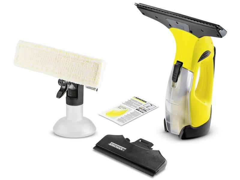 Žltý čistič na okná s príslušenstvom