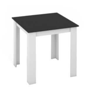 Jedálenský stôl, biela/čierna, 80×80, KRAZ