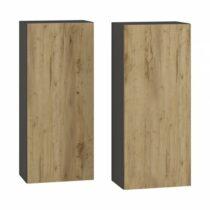 Kúpeľňová skrinka na stenu (2 ks) Baleta 2S – antracit / craft zlatý