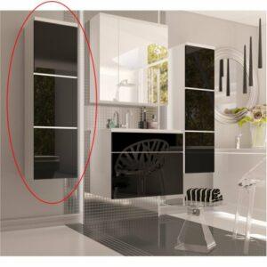 Kúpeľňová skrinka na stenu Mason BL 11 – biela / čierny vysoký lesk