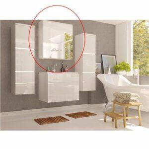 Kúpeľňová skrinka na stenu so zrkadlom Mason WH 14 – biela / biely vysoký lesk