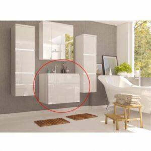 Kúpeľňová skrinka pod umývadlo Mason WH 13 – biela / biely vysoký lesk