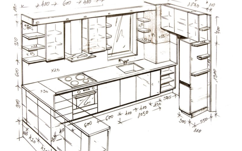 nákres zariadenia kuchyne s vpísanými rozmermi