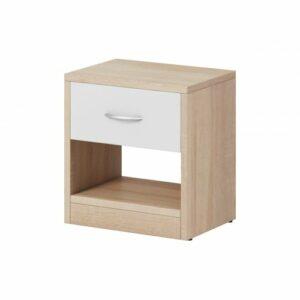 Nočný stolík Naka 1S – dub sonoma / biela