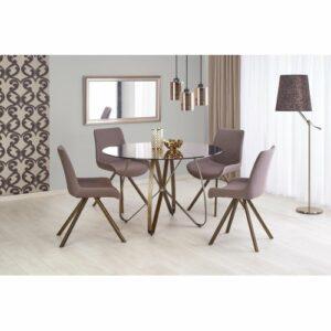 Okrúhly sklenený jedálenský stôl Lungo – hnedá / zlatá