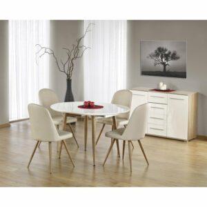 Rozkladací jedálenský stôl Edward – biely lesk / dub medový