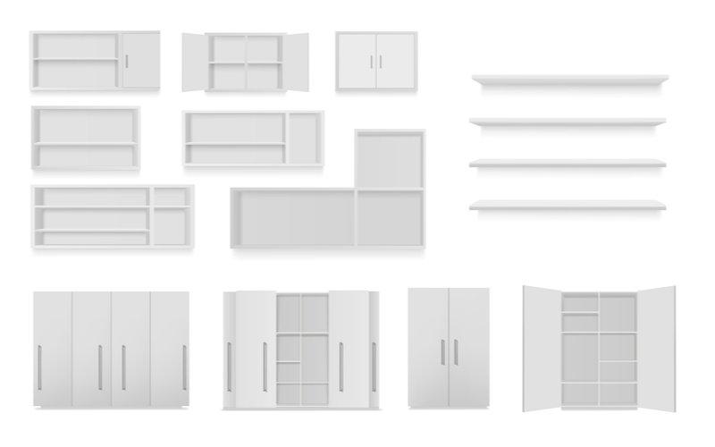 rôzne druhy bielych kuchynských skriniek na bielom pozadí