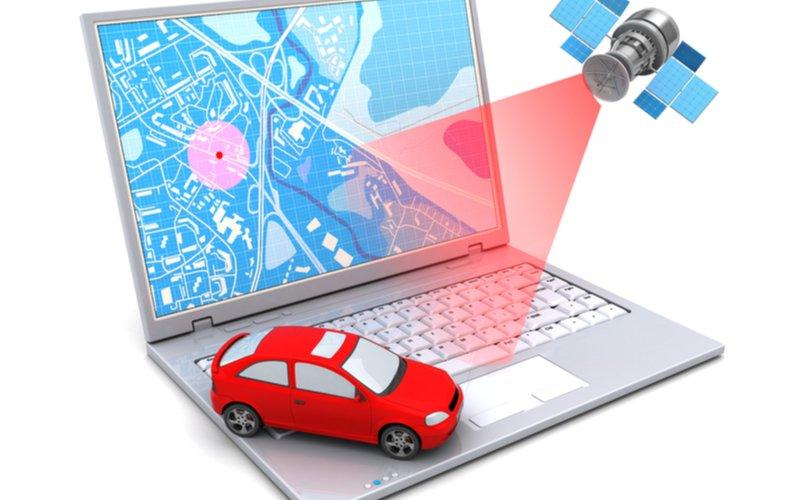Sledovanie polohy auta satelit+laptop