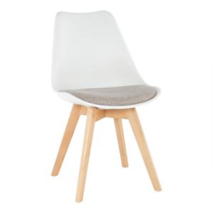 Stolička, biela/sivobéžová, DAMARA