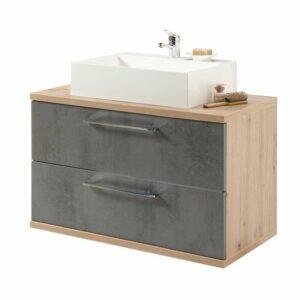 Umývadlová skrinka TROJA, dub artisan/antracitová