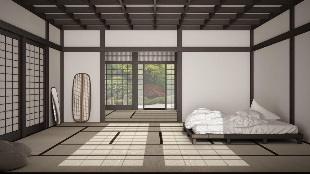Futonová posteľ v minimalistickom dizajne