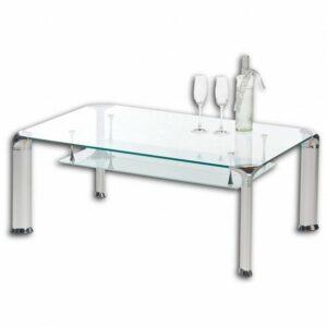 Konferenčný stolík ALBERTO, číre sklo/kov