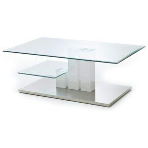 Konferenčný stolík GAVIN, biela/sklo