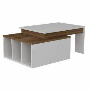 Konferenčný stolík KOLARADO, biela/orech