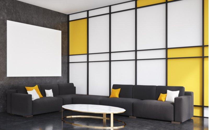 Moderná obývačka s oválnym stolíkom