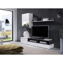 Obývacia stena, biela/sosna tmavá, ROSO