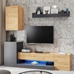 Obývacia stena, sivý antracit/dub wotan, DULA