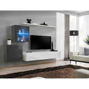 Obývacia stena Switch XV Sklo +LED grafit/biely