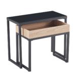Set dvoch konferenčných stolíkov, dub/čierna, DAGOR