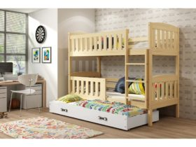 Detská poschodová posteľ KUBUŠ 3 s prístelkou / borovica