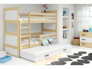 Detská poschodová posteľ s prístelkou RICO 3 / borovica 200×90 cm